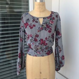 Worn once striped floral blouse.